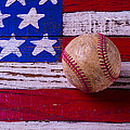 Baseball On American Flag by Garry Gay