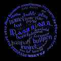 Baseball Terms Typography Blue On Black by Andee Design