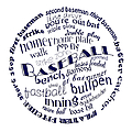 Baseball Terms Typography Blue On White by Andee Design