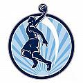 Basketball Player Dunk Ball Retro by Aloysius Patrimonio