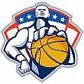 Basketball Player Holding Ball Crest Retro by Aloysius Patrimonio