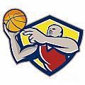 Basketball Player Laying Up Ball Retro by Aloysius Patrimonio
