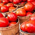 Baskets Of Tomatoes At A Farmers Market by Teri Virbickis