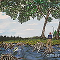 Bass Fishing In The Stumps by Jeffrey Koss