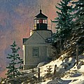 Bass Harbor Light In A Winter Storm by Brent Ander