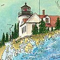 Bass Harbor Lighthouse Me Nautical Chart Map Art Cathy Peek by Cathy Peek