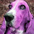 Basset Hound - Pop Art Pink by Sharon Cummings
