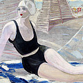 Bather In A Black Swimsuit by Jacqueline Marval