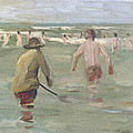 Bathing Boys With Crab Fisherman by Max Liebermann
