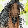 Bay Arabian Horse Watercolor Painting  by Angel Ciesniarska