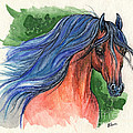 Bay Arabian Horse With Blue Mane 30 10 2013 by Angel Ciesniarska