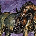 Bay Horse On The Purple Background by Angel Ciesniarska