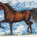 Bay Horse Running by Angel Ciesniarska