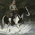 Big Creek Man On Spotted Horse by Don  Langeneckert