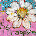 Be Happy Daisy Flower Painting by Blenda Studio