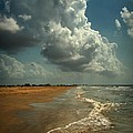 Beach And Clouds by Linda Unger