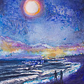 Beach At Night by Patricia Allingham Carlson