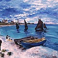 Beach At Sainte Adresse Monet by Eric  Schiabor