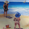 Beach Baby With Blue Hat by Marge Casey