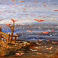 Beach Boat And Birds by Michael Anthony Edwards