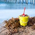 Beach Bucket In Sand by Joe Belanger