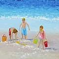 Beach Painting - Sandcastles by Jan Matson