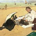 Beach Scene Little Girl Having Her Hair Combed By Her Nanny by Edgar Degas