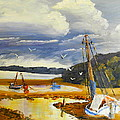 Beached Boat And Fishing Boat At Gippsland Lake by Pamela  Meredith