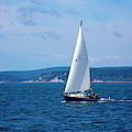 Beautiful Boat Sailing At Puget Sound by Evgeny Vasenev
