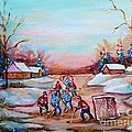 Beautiful Day For Pond Hockey Winter Landscape Painting  by Carole Spandau