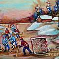 Beautiful Day-pond Hockey-hockey Game-canadian Landscape-winter Scenes-carole Spandau by Carole Spandau