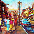 Beautiful  Downtown City Stroll  Cafe Paintings Montreal Restaurants On Crescent Street C Spandau by Carole Spandau