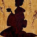 Beautiful Geisha Coffee Painting by Georgeta  Blanaru