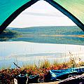 Beautiful View Of Calm Lake Looking Out Of Tent by Stephan Pietzko