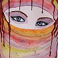 Beautiful Woman With Niqab Watercolor Painting by Georgeta  Blanaru