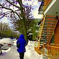 Beautiful Yellow Staircase Verdun Snow Scene Montreal Art Colors Of Quebec Carole Spandau by Carole Spandau