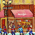 Beauty's Restaurant Paintings Of Plateau Montreal Winter Scenes Hockey Art Carole Spandau  by Carole Spandau