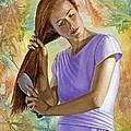 Becca Brushing Her Hair by Paul Krapf