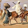 Bedouin Family Travels Across The Desert by Henri de Montaut
