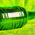 Beer Bottle Laying Over Green Painting by Magomed Magomedagaev
