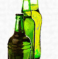 Beer Bottles Of Different Shapes Painting by Magomed Magomedagaev