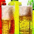 Beer Glasses Against Bottles Closeup Painting by Magomed Magomedagaev