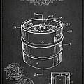 Beer Keg Patent Drawing - Dark by Aged Pixel