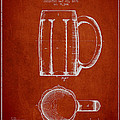 Beer Mug Patent From 1876 - Red by Aged Pixel