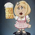 Beer Stein Dirndl Oktoberfest Cartoon Woman Grunge Color by Frank Ramspott