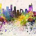 Beijing Skyline In Watercolor Background by Pablo Romero