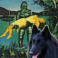 Belgian Shepherd Art Canvas Print - Creature From The Black Lagoon Movie Poster by Sandra Sij