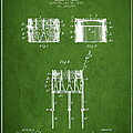 Bemis Snare Drum Patent Drawing From 1886 - Green by Aged Pixel