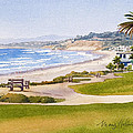 Bench At Powerhouse Beach Del Mar by Mary Helmreich
