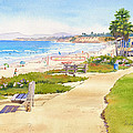 Benches At Powerhouse Beach Del Mar by Mary Helmreich
